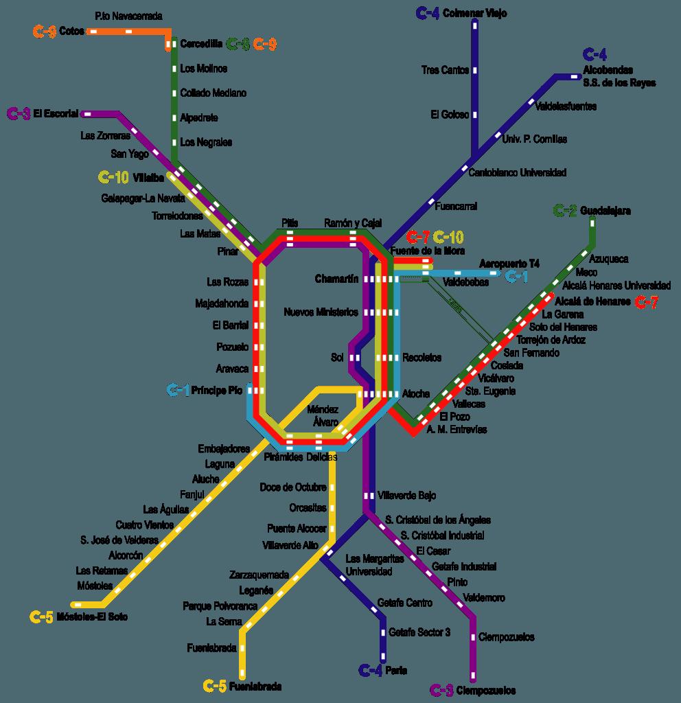 cercanias map madrid
