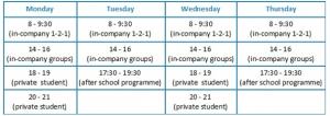 good timetable for a tefl teacher