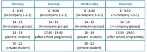 TEFL teacher schedule